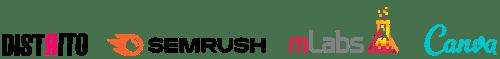 logos Distrito, Semrush, MLabs e Canva